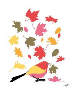 Bird art - Fall- Bird art print, whimsical art. $20.00, via Etsy.
