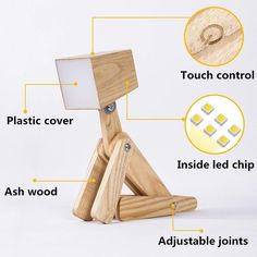 HROOME Modern Cute Dog Adjustable Wooden Dimmable Beside Desk Table Lamp Touch Sensor with Night Light for Bedroom Office (Large-Wood Color) Contemporary Pool Table Lights, Childrens Bedside Lamp, Wooden Table Lamps, Resin Table, Lamp Table, Table Desk, Desk Lamp, Bedroom Lamps, Bedroom Office