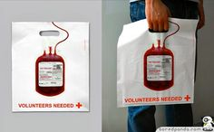 red cross bag advertising. A great ad to create awareness about blood donation