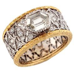 Diamond Rings : BUCCELLATI Diamond Yellow White Gold Ring.
