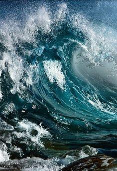 Powerful ocean waves.