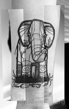 Elephant tattoo.... Maybe a Painting on the wall instead