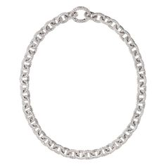 ReneSim Pave Diamond Gold Link Chain Necklace | From a unique collection of vintage more necklaces at https://www.1stdibs.com/jewelry/necklaces/more-necklaces/
