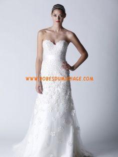 Prestcilla sans bretelle col en cœur ornée de ceinture en organza robe de mariée