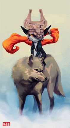 Midna Riding Wolf Link