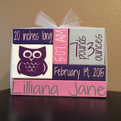 Custom / Personalized Wood Block Home Decor - Newborn Baby Stat Blocks - $25  After staining all the blocks the fronts are then painted whichever color theme you choose. Then the vinyl is applied.  When ordering we ask for a few details to be communicated with your order: 1) Baby name 2) Date of birth 3) Time of birth 4) Birth weight 5) Birth length 6) Image (ie - Owl, Elephant, Baseball Glove, etc.)  **Want a different color or a combination of colors? Send us a message or attach it to ...
