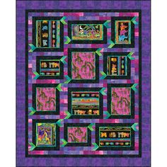 Clothworks Fabrics Mythical Jungle by Laurel Burch Purple It's A Frame Up Quilt Kit 69 by 82