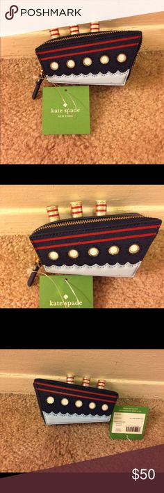 """kate spade NWT cruise ship coin purse kate spade """"expand your horizons""""  cruise ship coin purse. Crosshatched leather with matching trim. 14-karat light gold plated hardware with quick & curious lining fabric lining. Zip around closure; jump ring keyring. Measures approx: 2.4"""""""" h x 4.7"""" w x 1.9"""" d. kate spade Bags"""
