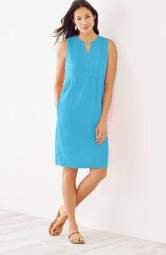 Women's Plus Size Linen Empire Waist Dress (Blue) (Size: 3X) | J.Jill