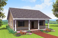 "This cute home plan lives larger than it is and has a 5'6"" deep porch across the front.The large great room shares a snack bar with the kitchen. The laundry is close at hand with extra storage.The large master bedroom has a walk-in closet. Bedroom 2 is large and contains a walk-in closet also.The front porch is the perfect place to spend time with your family and friends.Related Plans: Get more room and 3 bedrooms with house plan 2577DH. And downsize with house plan 2513DH (864 sq. ft.). Get…"