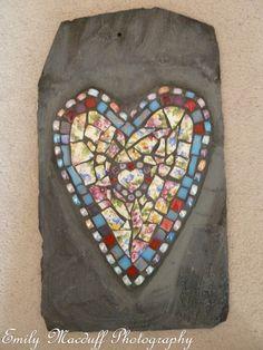 Colourful Heart Mosaic on Slate via Etsy