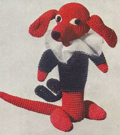 Vintage Crochet PATTERN Dog Dachshund Soft Toy Animal Dachshund