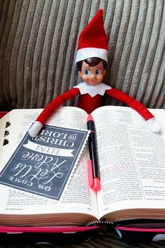 Elf on the Shelf..One day Elfie was reading the Bible and marked some of his favorite scriptures of Jesus our Savior..