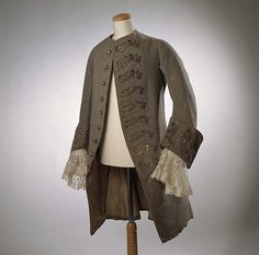 Grey woollen coat worn by member of the Llewelyn family, Penlle'r gaer, Swansea, mid 18th century