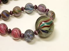 Antique 1800s German Glass graduated Marbles Bead Necklace Multicolored pattern