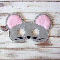 Mouse Mask  Felt  Kids Mask  Costume  Dress Up  by AnnsCraftHouse