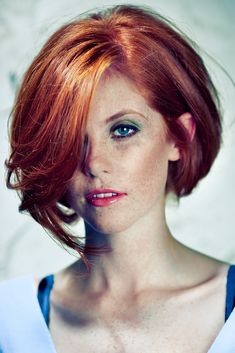 Cute hair cut. Red hair/head