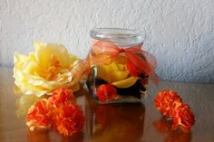 Yellow and Orange Fall Decorative Flower by BottledBouquet on Etsy