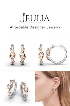 Buy Jeulia Never Apart Hoop Earrings online. Jeulia offers premium quality jewelry at affordable price, shop now! Silver Hoops, Silver Hoop Earrings, Diamond Studs, Diamond Earrings, Gold Earrings Designs, Gold Designs, Jewellery Sketches, Cute Earrings, Photo Jewelry