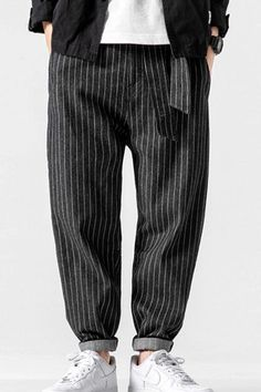 These striped denim harem pants are perfect for a casual day out in mild weather. Striped Denim Harem Pant, Men's Fashionwear, Traditional Pant, Men's Clothing Style, Men's Style Inspiration, Men's Formal Style, Classy Style, Street Style, Fashion Blogger, Fashionable Pant, Fashion Post! #pant #fashionwear #fashionblog #fashionlover #kokorostyle