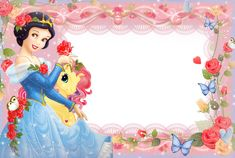Girls Transparent Frame with Princess Snow White Baby Disney Characters, All Disney Princesses, Merry Christmas Gif, Christmas Frames, Snow White Images, Best Photo Frames, Disney Frames, Superman Birthday, Photo Frame Design