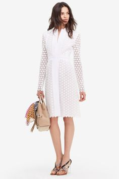 DVF DVF Waldorf Cosmic Lace Cocktail Coat in ivory