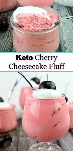 Keto Cherry Cheesecake Fluff – Cheesecake It Is! You don't have to give up tasty desserts while eating Keto! When you make recipes like this Keto cherry cheesecake fluff, you will not even notice. Fluff Desserts, Köstliche Desserts, Dessert Recipes, Cherry Desserts, Recipes Dinner, Salad Recipes, Food Deserts, Low Carb Sweets, Low Carb Desserts