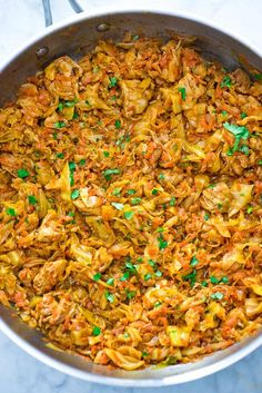 Succulent cabbage sauteed with tender chicken and vegetables. Just a few ingredients and about 15 minutes of active time make up this delicious dinner. Sauteed Cabbage, Chicken And Cabbage, Pickled Cabbage, Chicken And Vegetables, Greek Chicken, Vegetarian Cooking, Cooking Recipes, Healthy Recipes, Cooking Time