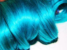 Solid Teal Turquoise Clip In Human Hair Extensions Dip Dye Tye Dye Blue Rainbow Hair. $15.00, via Etsy.