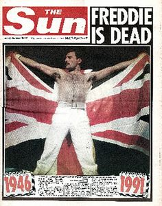 November 24, 1990 - Queen lead singer Freddie Mercury dies age 45  from pneumonia induced by AIDS   1946 to 1991 The Sun Magazine , Freddie Mercury (born Farrokh Bulsara; Gujarati: ફરોખ બલ્સારા, Pharōkh Balsārā; 5 September 1946 – 24 November 1991) was a British musician, singer, and songwriter, best known as the lead vocalist and lyricist of the rock band Queen. http://orangemercury.blogspot.com/2010/11/this-day-in-history-1991-freddie.html