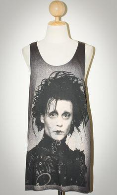 Johnny Depp Edward Scissorhands Gray Sleeveless Punk Rock Tank Top Women Size S