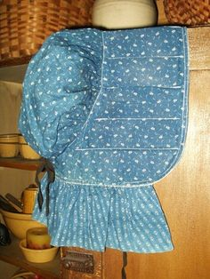 19th Century, Early Country Primitive Blue Calico Slat Bonnet, The Gatherings Antique Vintage