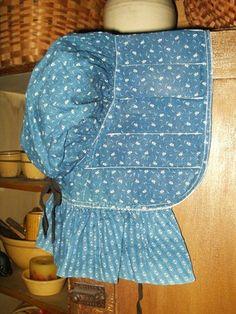19th Century, Early Country Primitive Blue Calico Slat Bonnet, The Gatherings Antique Vintage