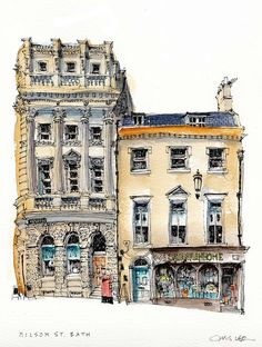 Pen And Watercolor, Watercolor Landscape, Watercolor Illustration, Watercolor Architecture, Architecture Drawings, Chris Lee, Art Sketches, Art Drawings, Building Sketch