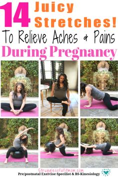 Mar 2020 - Pregnancy aches and pains can rob you of enjoying your pregnancy and nine months can feel like forever. Discover 14 safe stretches during pregnancy. Pregnancy Back Pain, Exercise During Pregnancy, Happy Pregnancy, Trimesters Of Pregnancy, Pregnancy Health, Pregnancy Workout, Pregnancy Tips, Ectopic Pregnancy, Pregnancy Calendar