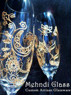 bride and groom toasting glasses