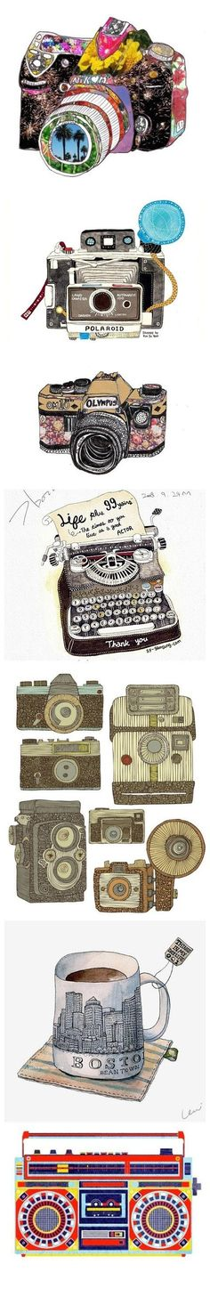 besides the last photo, i love all of these really cool retro peices ; Illustration Arte, Vintage Illustration, Camera Illustration, Creative Illustration, Pop Art, Collages, Retro, Art Graphique, Everyday Objects