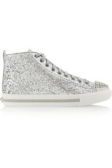 Glitter-finished high-top sneakers, with silver ribbon side. How about neon green laces?