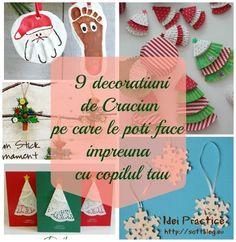 9 decoratiuni de Craciun pe care le poti face cu copilul tau Christmas Ornaments, Holiday Decor, Cottages, Winter, Kids, Home Decor, Manualidades, Winter Time, Young Children