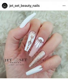 Nail art is a very popular trend these days and every woman you meet seems to have beautiful nails. It used to be that women would just go get a manicure or pedicure to get their nails trimmed and shaped with just a few coats of plain nail polish. Glam Nails, Bling Nails, Beauty Nails, Bling Nail Art, Pink Manicure, Pink Nail, Manicure Ideas, Art Nails, Best Acrylic Nails