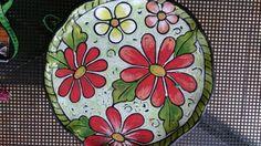 Plato ceramica pintado con stroke and coate