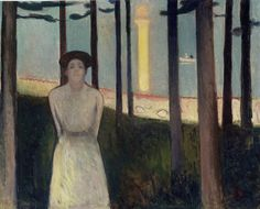 """""""Summer Night's Dream,"""" by Edvard Munch, oil on canvas, 34 5/8 by 42 1/2 inches, 1893, Museum of Fine Arts, Boston, Ernest Wadsworth Longfellow Fund, 59.301 ©2006 The Munch Museum/The Munch-Ellingsen Group/Artists Rights Society (ARS), New York"""