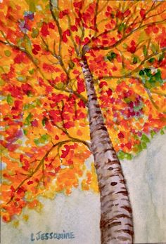Original Watercolor Painting, Tree Art, Autumn Art, Tree Painting, Wall Art, 7x5 by LonoraJessamineArt on Etsy https://www.etsy.com/listing/503351530/original-watercolor-painting-tree-art