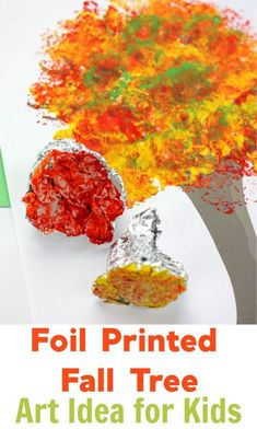 Fall Tree Art with Foil Printed Leaves - Emma Owl....#preschool #craftsforkids #kidscrafts #fallcrafts #easyfallcraftsforkids #fallartprojects