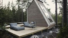 The structure, including outside entrances and deck has a compact footprint of 96 square feet, while...
