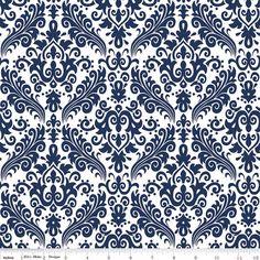 Navy Damask Fabric  Navy Blue on White by by SouthernStitchFabric