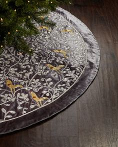 Silver Christmas Tree Skirt With Partridge Motif By