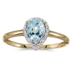 10k Yellow Gold Pear Aquamarine And Diamond Ring (Size 5.5), Women's, Blue
