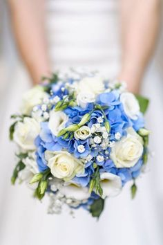Round compact bouquet of white roses and blue hydrangea ~ we ❤ this! moncheribridals.com