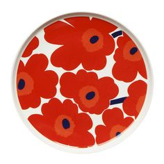 Marimekko Unikko Red Dinner Plate Dine with a old friend when using the Marimekko Unikko Red Dinner Plate. Maija Isola's iconic red poppies decorate the clean-lines of the Oiva dinnerware. Made from vitreous porcelain, the plate is con. Marimekko, Red Dinner Plates, Yellow Tile, Poppy Pattern, Haida Art, African Textiles, Japanese Patterns, Textile Patterns, Floral Patterns